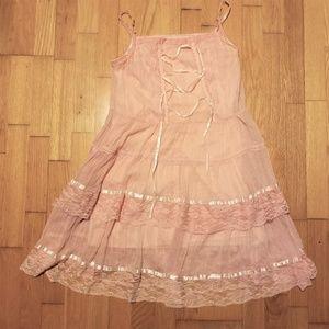 Pink & Gold Pinstripe Gyaru Lace Dress